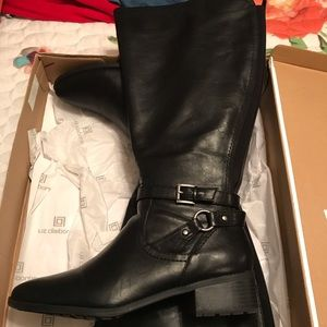 Women's black leather boots by Liz Claiborne